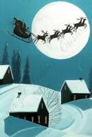 Christmas Santa reindeer sleigh flying art Criswell ACEO print of painting gift