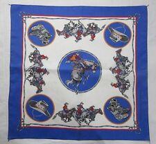 Wamcraft Vintage Cowboy Horses Scarf Bandana RN 14193 Cotton Blue Deadstock USA