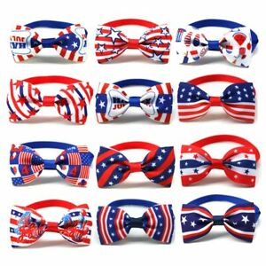100Pcs Pet Dog Cat Plaid Style Bow Tie 4th of July American Independence Days
