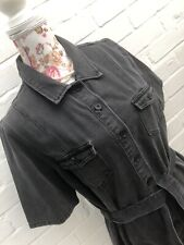 BNWT Next Denim Shirt Dress Size 16 Grey Cotton Blend Bloggers Fav