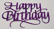 HAPPY BIRTHDAY CAKE PICK TOPPER DECORATION  PURPLE  GLITTER  CALLIGRAPHY