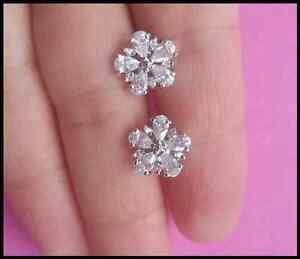 Genuine 925 sterling Silver Marquise Flower Crystal CZ Stud Earrings Women Girl