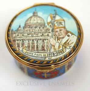 Staffordshire Enamels Pope John Paul II Commemorative LE Enamel Box