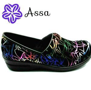 Brandy Slip Resistant Nursing Shoes Clogs by Assa, Women's: Scribble