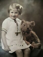 Vintage Hand Coloured Photo of A Young Girl & Her Teddy Bear 30's  Framed
