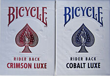 2 DECKS! Bicycle Metal Luxe Rider Back Playing Cards Crimson RED and Cobalt BLUE
