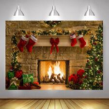 Merry Christmas Tree Backdrop Fireplace Background Photo Scene Studio Prop