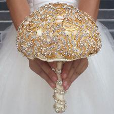 Luxury Gold Bride Hand Flower Rhinestones Wedding Bridal Bouquet Brooch Posy Dec