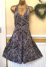 Boden Summer Soft Leaf Print Halter Dress Size 14 Regular BNWOT