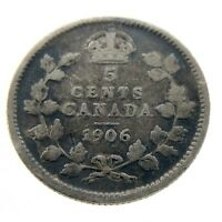 1906 Canada 5 Cents Small Silver Circulated Canadian Edward VII Coin N251