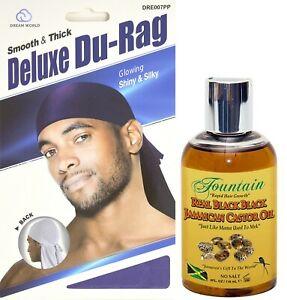 Fountain Real Black Black Jamaican Castor Oil & Luxury Satin Du-Rag For Men