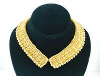 Vintage Faux Pearl Beaded Collar Satin Japan