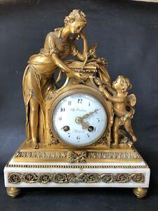 PENDULE EN BRONZE DORE ET MARBRE CH OUDIN ELEVE BREGUET LOUIS XVI PENDULUM CLOCK