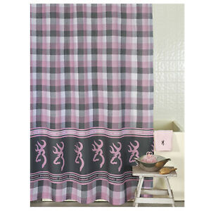 """Browning Buckmark Plaid Fabric Shower Curtain 72"""" x 72"""" Pink Country Gray Modern"""