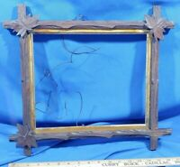 Antique Carved Wood Large Leaf Picture Frame Adirondack Black Forest Gold Trim