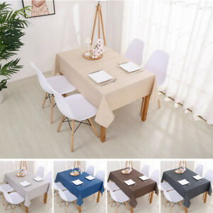 Satin Solid Cotton Linen Tablecloth Table Cover Cloth Mat Rectangle Dining Decor