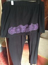 Joe Browns Plus Size 24 Leggings con gonna attaccata Nero con Design Viola