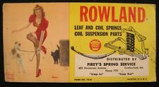 Vintage Rowland Leaf & Coil Springs Blotter Ad Bradley Girl Cumberland Maryland