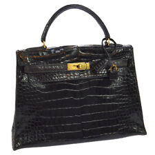 Authentic HERMES 80's KELLY 32 Hand Bag Black Crocodile Skin JT06635b