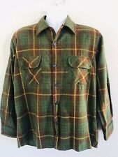 Vtg 60s Penney'S Towncraft Wool Shadow Plaid Square Bottom Loop Collar Shirt M