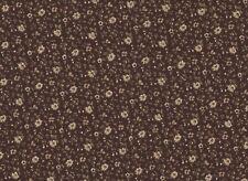 Brown / Cream Floral Stretch Polycotton Fabric 132cm Wide