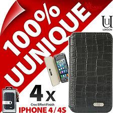 4 x COCCODRILLO Uunique folio case Cover per iPhone 4 / 4S Guscio Duro Protettivo Flip