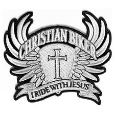 Christian Biker I Ride With Jesus In Silver Grey Iron on Sew on Biker Patch