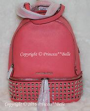 NWT MICHAEL Kors Rhea Small Studs Back pack Zip Leather Bag Coral $358