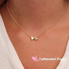 Monogram Personalized Initial Heart Charm Pendant Necklace Women Gold-Letter J