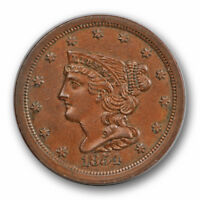 1854 1/2c Braided Hair Half Cent Uncirculated Mint State Brown BN #3860