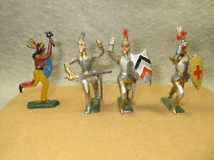 3 Unknown Maker solid lead Knights (Spenkuch  / Haffner) plus 1 solid Indian, K1