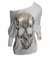 Luxury Ladies Halloween Skull Off Shoulder Top Bardot Skeleton Tunic Batwing HQ