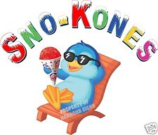 """Sno-Kones Snow Cones Shaved Ice Concession Trailer Cart Food Truck Decal 24"""""""