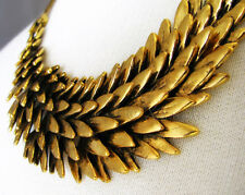 Golden Fallen Angel Statement Necklace - Hand Casted Gold Angel Wing Jewelry