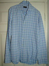 HUGO BOSS DESIGNER BLUE CHECK LONG SLEEVED WORK/DRESS SHIRT UK 15.5 EU 39