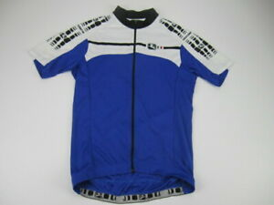 Mens Medium Giordana blue white cycling jersey