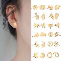 Stainless Steel Women Earring Gold Color Ear Stud Pendant for Gift