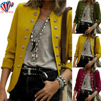 Womens Buttons Open Front Military Blazer Coat Ladies Office Jacket Outwear US