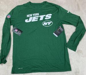 NWT'S The Nike Tee Dri-Fit On Field New York Jets NFL LS Shirt SZ L Players