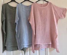 New Italian Lagenlook Oversized Side Split Cotton Linen Mix Asymmetric Tunic Top