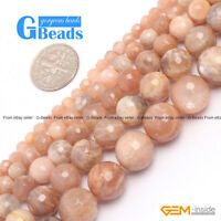 "Natural Sunstone Gemstone Faceted Round Beads Free Shipping 15"" 4mm 6mm 8mm 10mm"