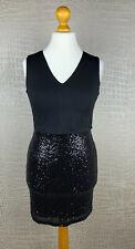 NEU! VOYELLES Damen 40 38 Kleid schwarz Pailletten Stretch Etuikleid Dress 312