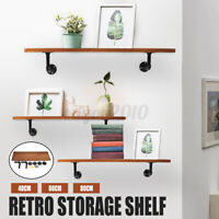 1pc Industrial Retro Wall Mounted Pipe Rack Shelf Shelves Storage Hanging Holder