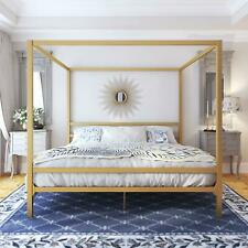 King Size Dark Gold Metal Canopy Bed Frame Headboard Modern Bedroom Furniture