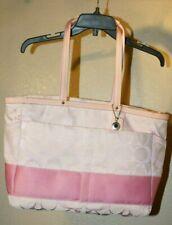Rare Coach NoB1076-F13803 pink signature stripe jacquard leather logo diaper bag