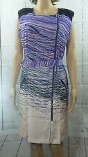 Calvin Klein Career dress military style,Stripped, front zipper Dress Sz12 B1#30