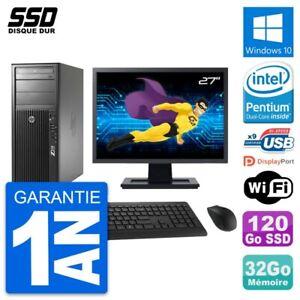 "PC Tour HP Z210 Ecran 27"" Intel Pentium G630 RAM 32Go SSD 120Go Windows 10 Wifi"