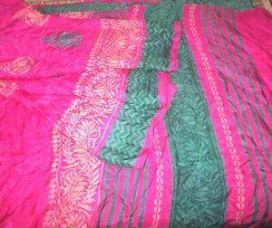 C SILK BLEND Antique Vintage Sari Saree Fabric Material 4yd Z3 250 Rani CRAFT