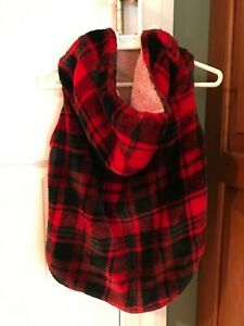 NWOT Top Paw Red & Black Plaid/Buffalo Check Fleece Hoodie for Dogs, Size Large