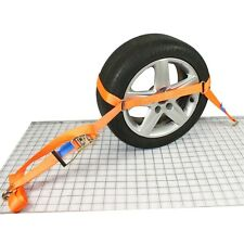 Trailer Car Transporter Recovery Ratchet Straps Wheel Link with Oval Ring x2